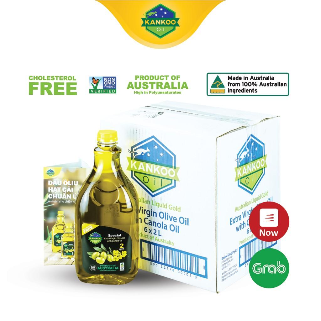 Nguyên thùng dầu ăn Kankoo nhập khẩu Úc loại 2 lít (6 chai), dầu Extra Virgin Oliu và hạt cải ép lạnh chuyên chiên xào