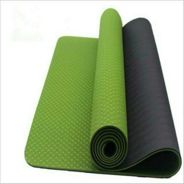 Thảm tập yoga TPE 8mm 2 lớp tặng túi đựng cao cấp
