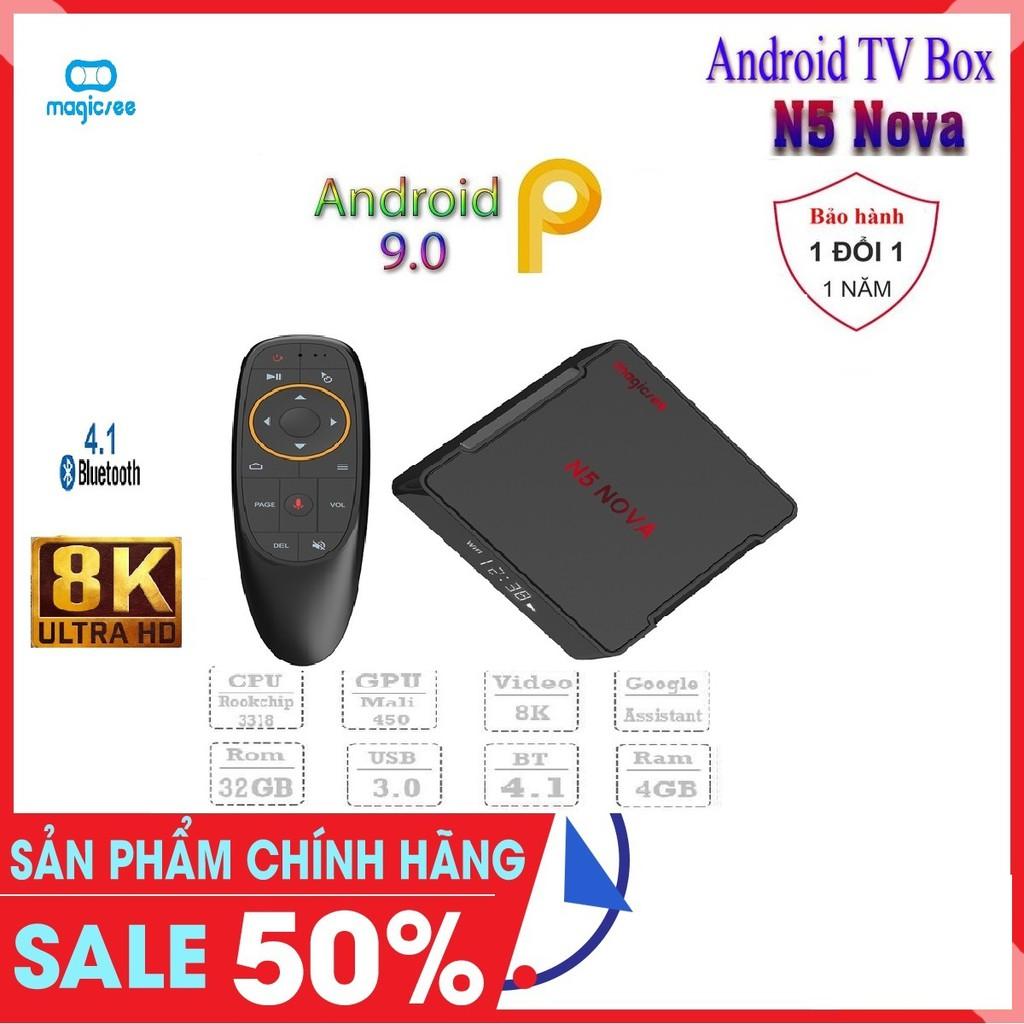 Android Tivi Box Magicsee N5 Nova - Chip RK3318 - Ram 4GB. Rom 32GB, Android 9.0 - Bảo Hành 1 Năm