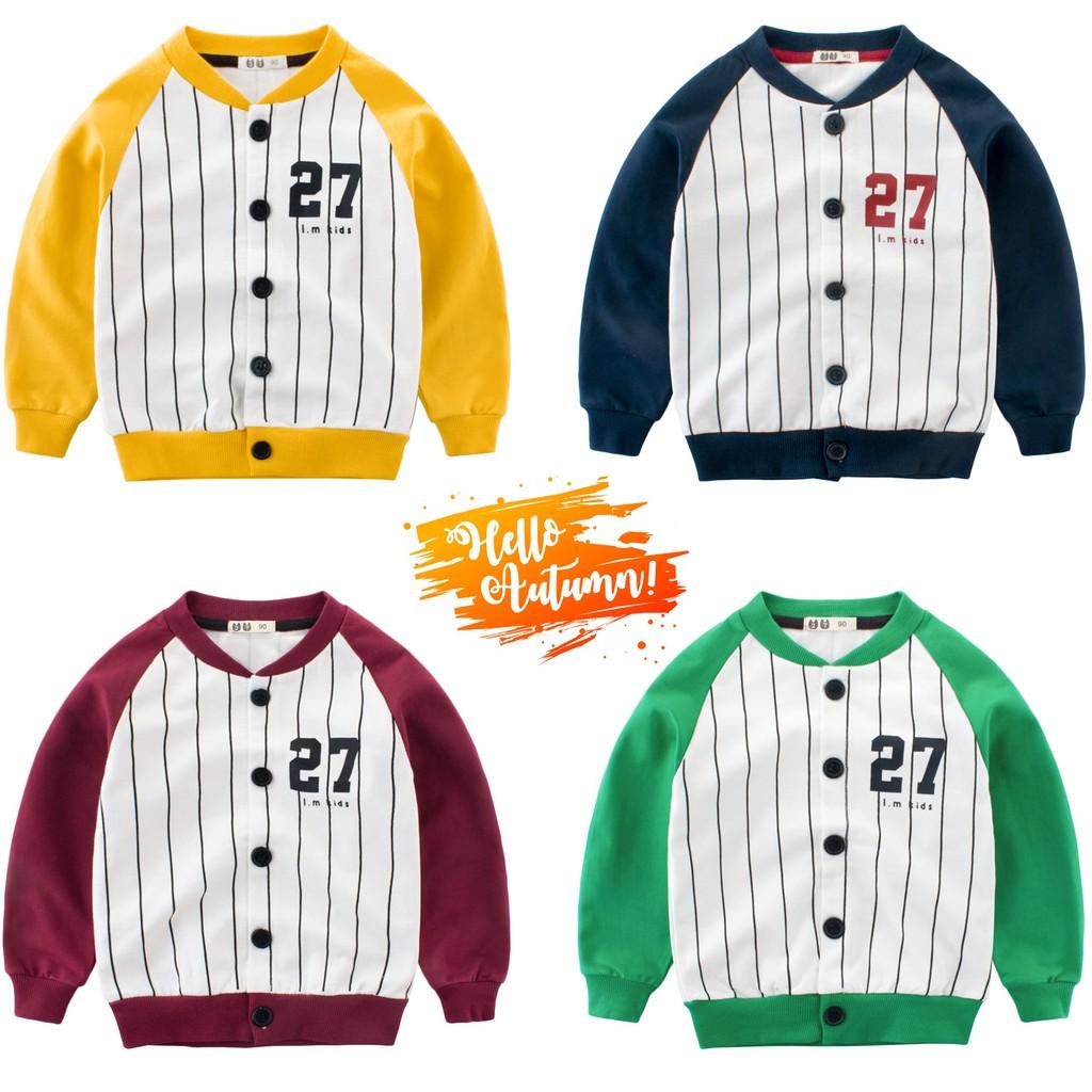 Áo bóng chày cho bé 27KIDS áo nỉ da cá cho bé chất cotton hàng xuất Âu Mỹ