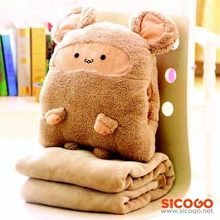 Gấu bông kèm mền du lịch 3 trong 1 (1.6m x 1m) Sicogo