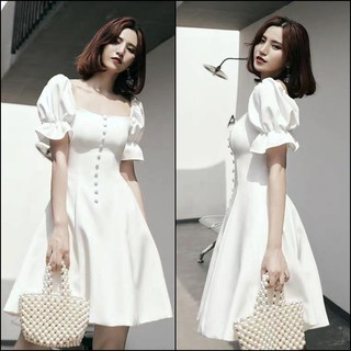 Đầm Xòe Phối Nút Tay Bồng Misa Fashion Chuẩn Dáng, Giá Rẻ – MS379