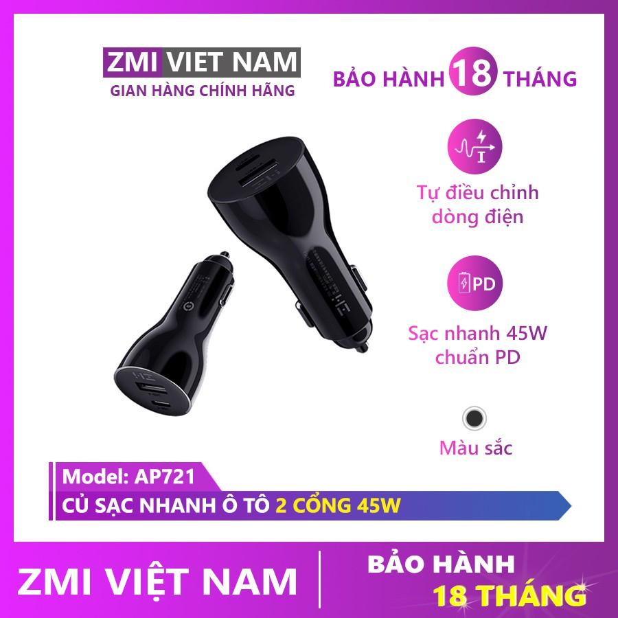 [ ZMI VIỆT NAM ] Củ Sạc Nhanh Ô Tô ZMI AP721 2 Cổng Type C và USB A Sạc Nhanh 45W   Bảo Hành 18 Tháng