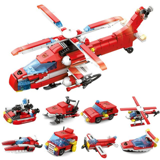 8 hộp rời Bộ lắp ráp kiểu lego 8 trong 1 kazi mô hình trực thăng cứu hỏa 80541