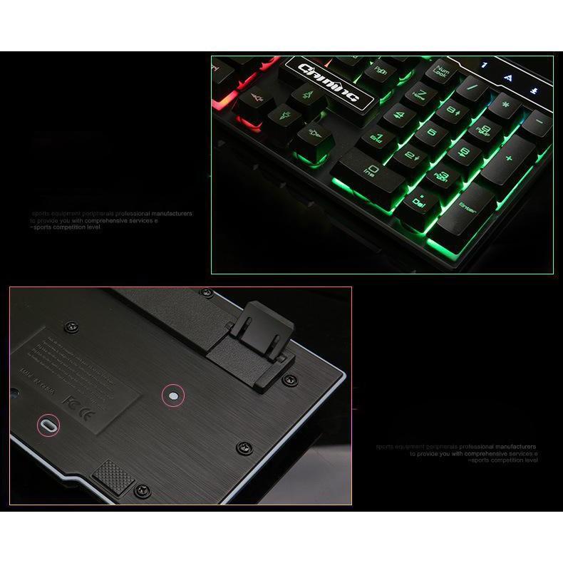 bàn phím cơ dành cho game thủ (Giả Cơ) V8 Có Dây Thiết Kế Độc Đáo Đèn Led 7 Màu Đẹp Mắt