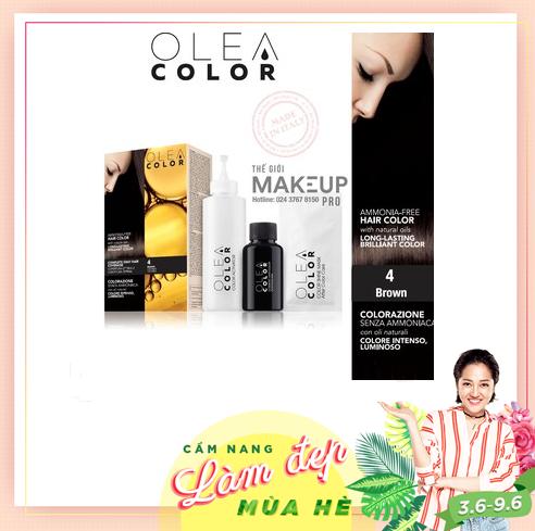 [NÂU TỰ NHIÊN] Kem nhuộm dưỡng tóc không Amoniac Olea Color ITALY Màu số 4