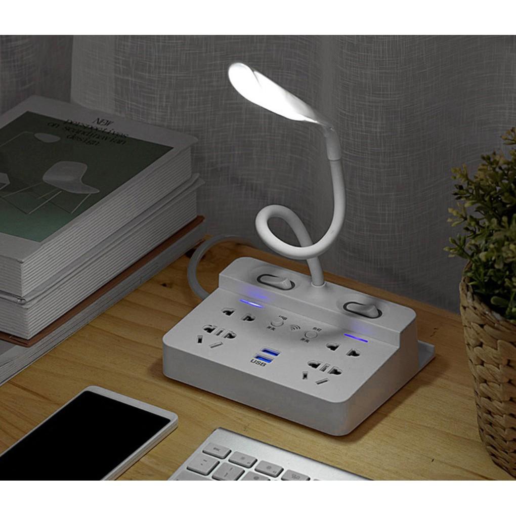 Ổ cắm điện thông minh nối dài kiêm đèn bàn LED có remote -dây nối dài 1.8 met