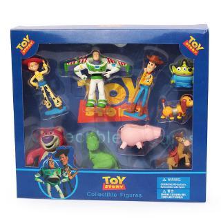 9Pcs Boneka Pajangan Action Figure Toy Story 3 Woody Buzz / jessie 3 Bahan Kayu untuk Mainan Anak