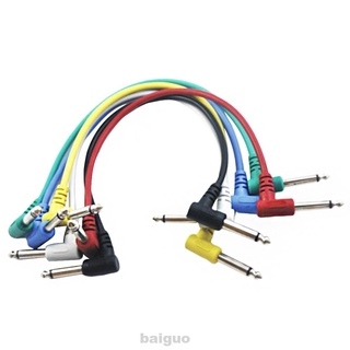 6pcs 30cm Noiseless Instrument Accessories For Effect Pedals Right Angle Plugs Guitar Patch Cable