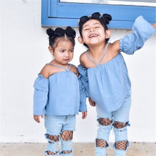 Bộ quần jean rách thời trang cho bé gái