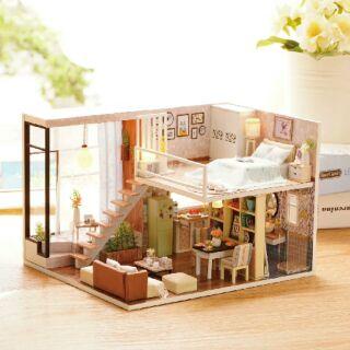 Kèm mica – Mô hình nhà gỗ búp bê dollhouse DIY – L020 Waiting for the time