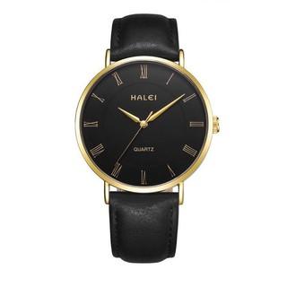 Đồng hồ nam HALEI dây da đen cao cấp mặt đen size 40mm kính chống xước, chống nước tuyệt đối số la mã HL540