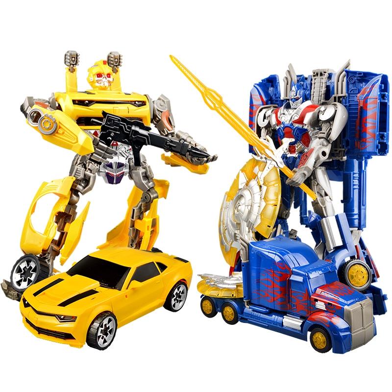 ¤☁ↂSuper large deformation toy King Kong 5 Optimus op column bumblebee set car robot model male children's hand-done