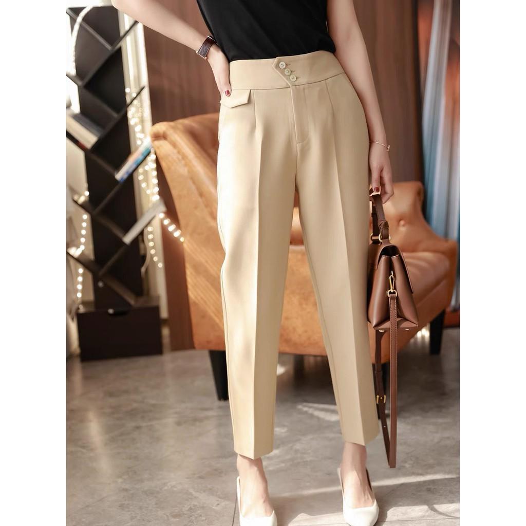 (Ms1)Quần tây công sở nữ dài 3 khuy bấm cạp lưng cao - Dáng quần baggy vải công sở dày mềm phối áo sơ mi