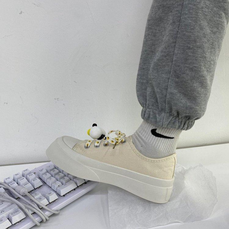 Giày Vải Canvas Đế Bằng Phối Dây Thắt Thời Trang Thoải Mái Cho Nữ