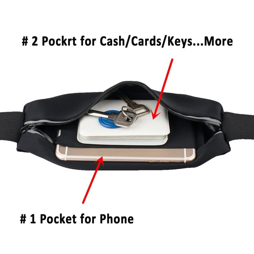 Đai đeo điện thoại màn hình 5.5 inch ngang hông đa năng màu đen