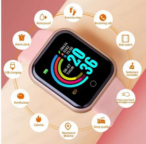 Relógio Smart Y68 D20 Rel Gio Com Bluetooth Usb Com Monitor Cartão Aco(x7 p8 p9 x8 w46 w26  hw12 t600 t900)