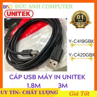 Cáp máy in cổng USB 1.8M - 3M UNITEK YC410/ YC420 - Hàng Chính Hãng Phân Phối- Bảo Hành 12 Tháng