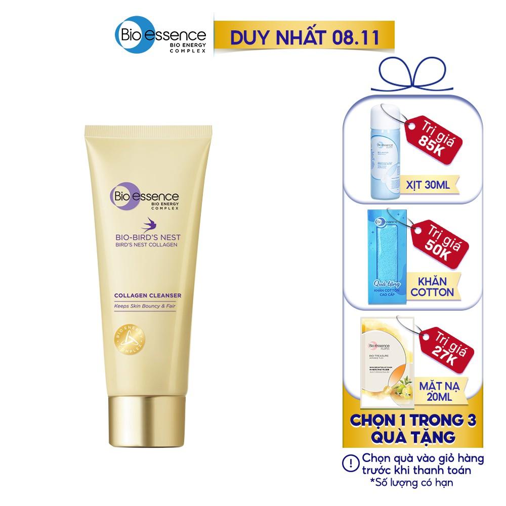Sữa rửa mặt dưỡng da tươi sáng và căng mọng Bio-essence Bio-Bird's Nest Collagen Cleanser 100g