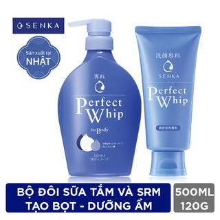 BộđôiSenka sữa tắm dưỡng ẩm 500mlvàsửa rửa mặttạo bọt dưỡngẩm chiết xuất tơ tằm 120g_95139