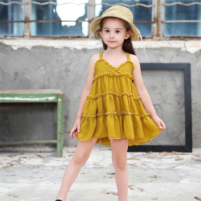 Đầm hai dây thời phối bèo nhún thời trang cho bé gái