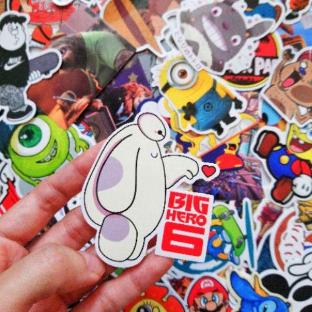 Set sticker 35 cái ngẫu nhiên hoạt hình pvc chống nước