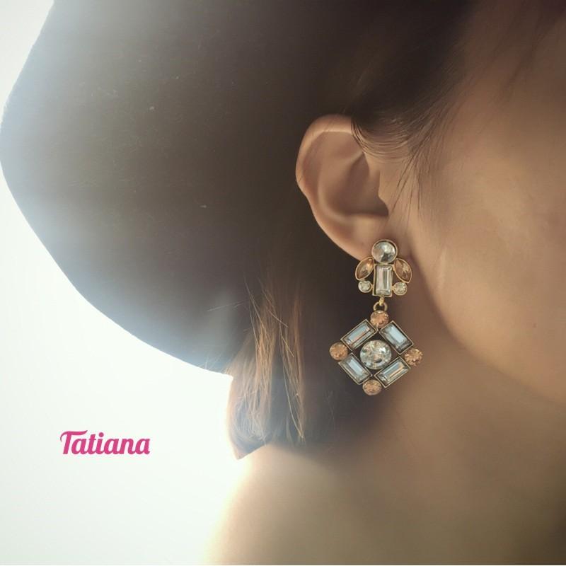 BÔNG TAI STATEMENT ĐÁ THOI - TATIANA - B2698 (VÀNG ĐỒNG)