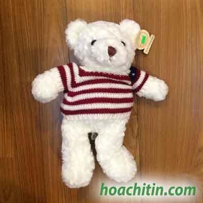 Gấu Teddy Lông Trắng Áo Len Cờ Mỹ