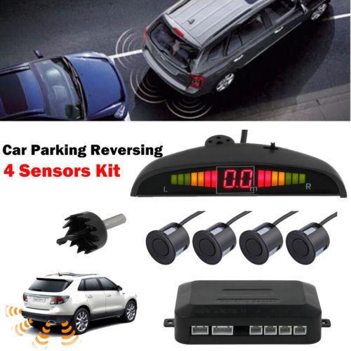 Car Parking Rear Reversing Sensors 4 SensorsKit AudioBuzzer Alarm LED Display