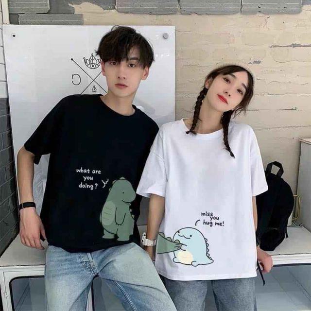 Áo đôi Unisex hình khủng long cute | Shopee Việt Nam
