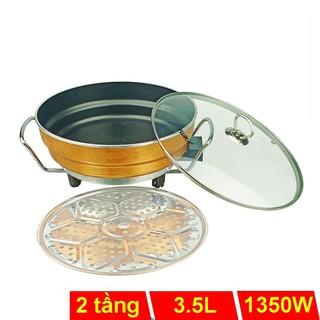 Chảo lẩu điện 3.5L Fujika FJ-EP3915 lòng nồi chống dính, có xửng hấp inox