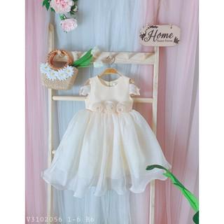 Đầm dự tiệc bé gái 3 hoa nhấn eo Skimi