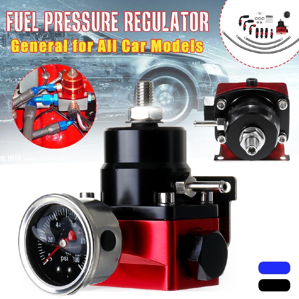 Universal Car Adjustable Fuel Pressure Regulator Gauge 6AN Oil Hose End Adapter