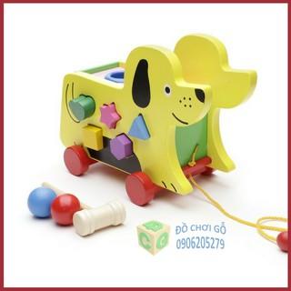 Đồ chơi gỗ xe cún kéo thả hình đập bóng Hãng S-Kids