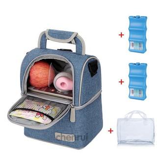 Balo giữ nhiệt bảo quản sữa (đựng được cả máy hút sữa Pump) kèm 2 đá khô giữ lạnh và túi plastic