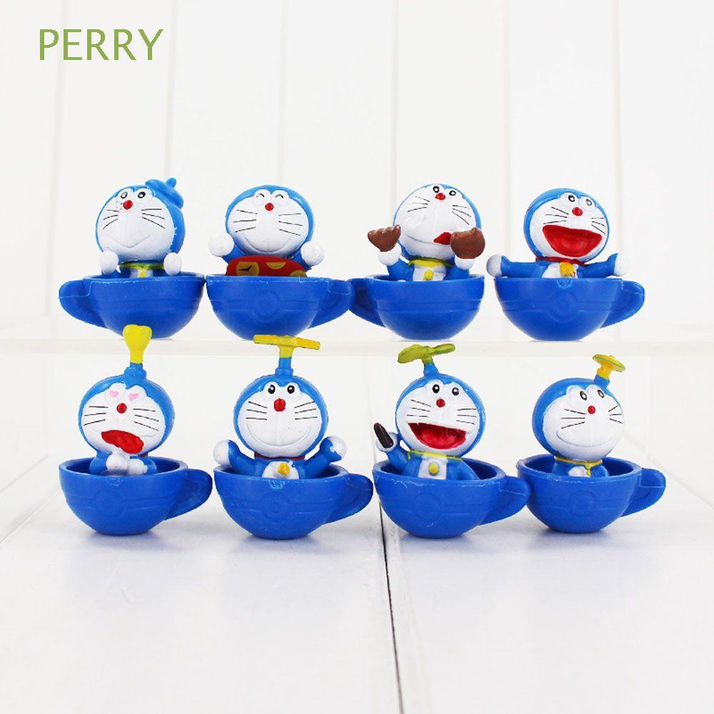 PERRY 8Pcs/Set Doraemon Action Figures For Kids Toy Figures Figurine Model Miniatures Doraemon Anime Gifts Collectible Model Doll Toys Doll Ornaments