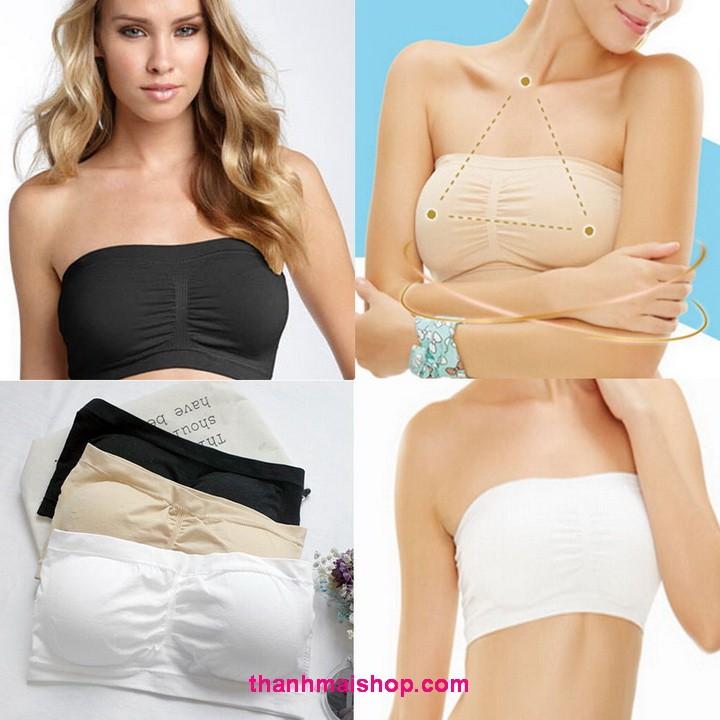 Áo ngực thể thao dạng ống AL010 Bandeau Bra thun cotton cao cấp kèm mút đệm ngực