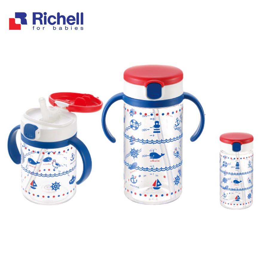 Cốc tập uống có ống hút Richell (320ml - xanh hải quân) - Chính hãng Richell