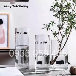 Bình Bông Lọ Hoa D12XH30Cm - Bình Hoa Thủy Tinh Trụ Tròn