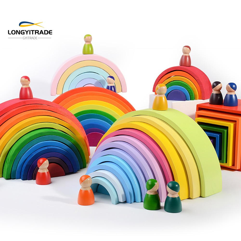 12 Puzzles  Rainbow Tunnel Stacker Nesting Sculpture Building  Toy