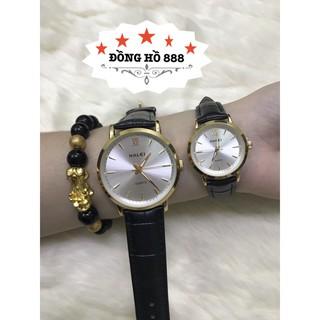 Cặp đồng hồ HALEI dây da TẶNG 1 vòng- dây đen mặt đen