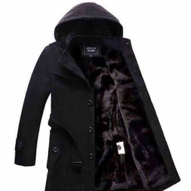 Áo khoác măng tô dạ lót nỉ lông có mũ và đai tháo rời