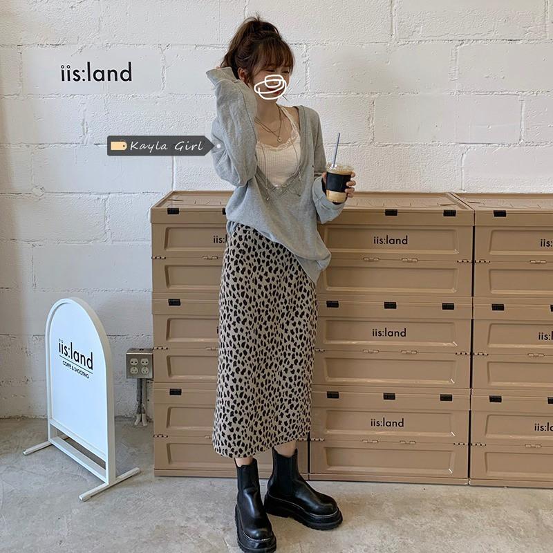 (HÀNG SẴN) Chân váy midi cạp cao dáng dài A-line họa tiết da báo màu xám style retro mùa thu Korea ( HÀNG_MỚI )