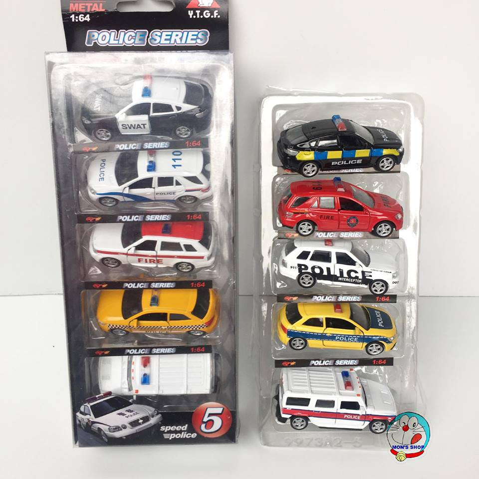 Hộp 5 chiếc xe ô tô cảnh sát mở được cánh