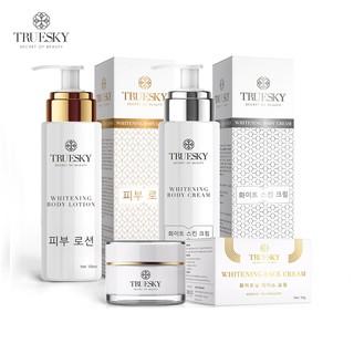 Bộ sản phẩm trắng da Truesky VIP02 (1 Kem Ủ Trắng Da Body 100ml 1 Kem Dưỡng Trắng Da Body 100ml 1 Kem Face 10g)