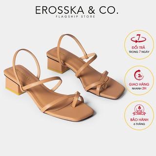 Sandal cao gót nữ xỏ ngón dây mảnh Erosska cao 5cm màu bò _ EB024