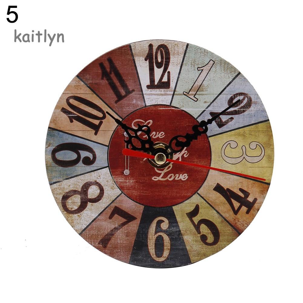 Đồng hồ kim mặt vuông / tròn họa tiết vintage cho trang trí