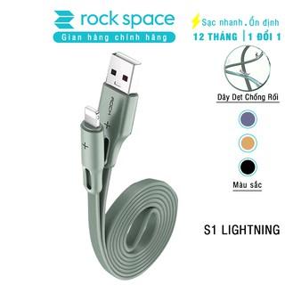Cáp sạc iphone Rockspace S1, sạc nhanh, ổn định, không nóng máy, dây dẹt, độ dài 1m,  chính hãng bảo hành 12 tháng