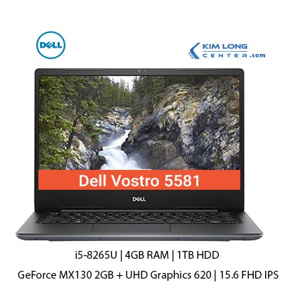 Laptop Dell Vostro 5581 : i5-8265U | 4GB RAM | 1TB HDD | GeForce MX130 2GB | 15.6 FHD IPS | Win 10 - Hàng Nhập Khẩu