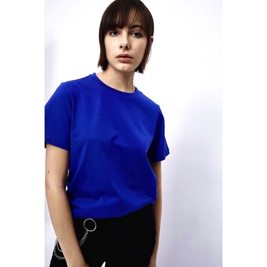 [HOT] Áo Thun Nữ Màu Xanh Biển Đậm Thoáng Mát Co Giãn Form Suông Đủ Size   Rimshop